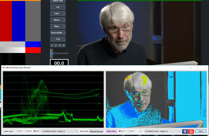 NDI Dual False Colour Monitor & Video Waveform display